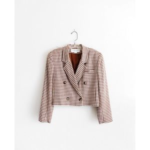Vintage Toffee Brown White Gingham Blazer sz 4